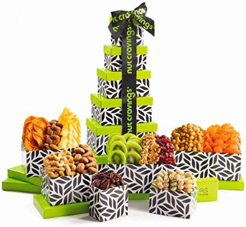 Gourmet Dried Fruit Nut Gift Basket Leaf Tower 12 Mix Valentine Food Arrangement Platter Care product image
