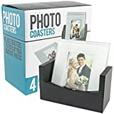 Set of 4 Glass Photo Frame Coasters W/Wood Storage Rack