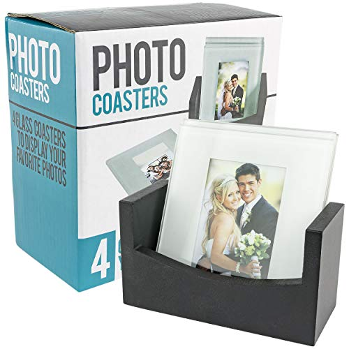 Southern Homewares Photo Coasters Set of 4 Wooden Rack Personalized Photo Gift Glass Picture Coasters Customizable Wedding