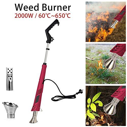 Elektrische onkruidverdelger, 2-in-1, brandt onkruidkruid zonder chemicaliën, 2000 W, met 2 sproeiers en kabels van 1,8 m - 50 tot 600 °C, rode wijn