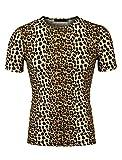 uxcell Hombre Manga Corta Cuello Redondo Estampado Leopardo Camiseta Leopardo Marrn 52