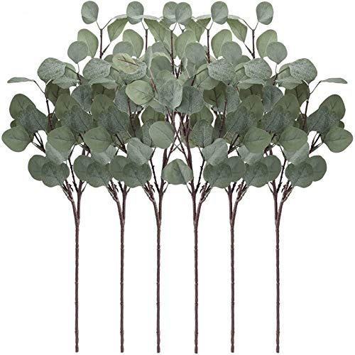 """YOUZAN Artificial Eucalyptus Leaves Stems 6 Pcs Faux Silver Dollar Eucalyptus Leaf Branches in Grey Green for Home Party Wedding Decoration(25.5"""" Tall)"""