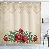 Ambesonne Shabby Flora Shower Curtain, Vintage Glamour Background with Red Rose Love and Attraction Delicacy, Cloth Fabric Bathroom Decor Set with Hooks, 84' Long Extra, Beige Green