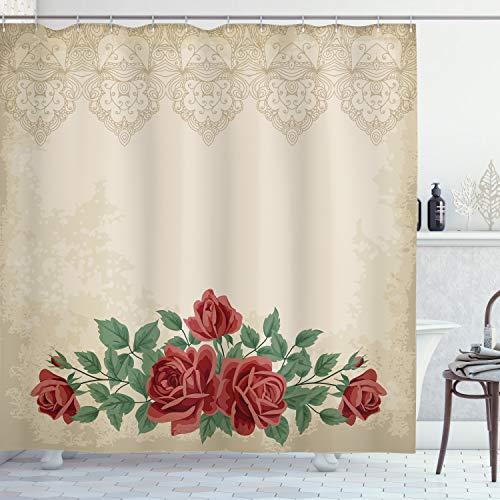 ABAKUHAUS shabby Flora Douchegordijn, Vintage Liefde Rode Rozen, stoffen badkamerdecoratieset met haakjes, 175 x 180 cm, beige Groen