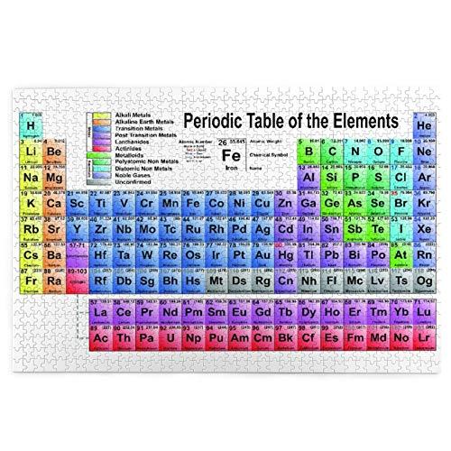 Rompecabezas de 1000 Piezas,Rompecabezas de imágenes,Science Freak Chemistry Lovers Tabla de elementos coloridos Juguetes puzzle for Adultos niños Interesante Juego Juguete Decoración Para El Hogar