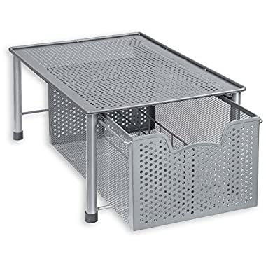 SimpleHouseware Stackable Cabinet Basket Drawer Organizer, Silver
