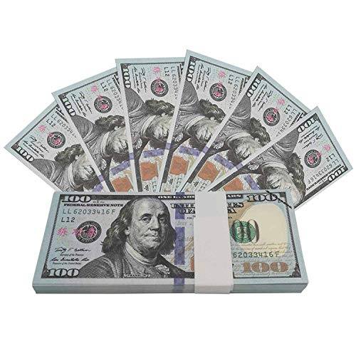 UIKMMG Movie Prop Money One Stack 100 Dollar Bills for Movie,Teaching,Viedio and Party