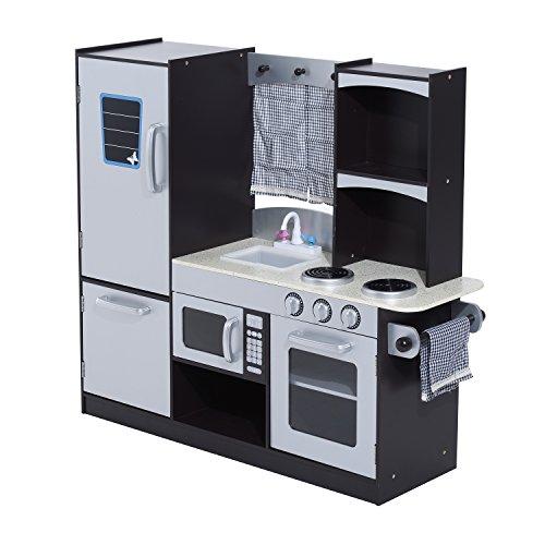 homcom Grande Cucina Giocattolo Deluxe per Bambini Frigorifero Microonde Forno Fornelli Lavandino con Rubinetto Congelatore MDF(P2) Legno di Pino 105Lx31.5Px95Acm Argentato Nero