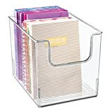 mDesign Plastic Open Front Home Office Storage Bin Container, Desk Organizer Tote - for Storing Gel Pens, Erasers, Tape, Pens, Pencils, Highlighters, Markers - 8' Wide - Clear
