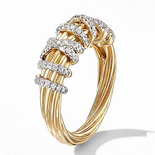 Anillos para mujer de lujo ahueca hacia fuera la cruz de circonita cúbica oro amarillo color plateado regalo de fiesta joyería de moda alianzas de boda 9 dorado