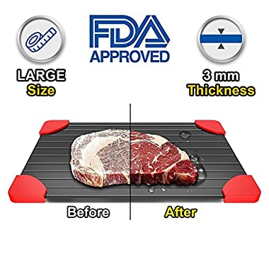Defrosting Tray For Frozen Foods Magical Fast Defrosting Plate- Conductive Metal Thawing Tray-The Safest Way to Defrost Steak &Frozen Food -Quickly Without Electricity, Hot Water By JIA LE
