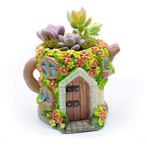 Magwen Succulent Cactus Flower Pot Container, Miniature Fairy Garden Decorative Flower Pot, Novel Kettle House-Shaped Bonsai Flower Pot (Light Yellow)