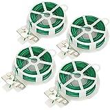 com-four® Cable de unión de 80 Metros - Cable Recubierto de plástico en Verde - Cable de jardín con Dispositivo de Corte para jardinería y tareas domésticas (04x 20m)