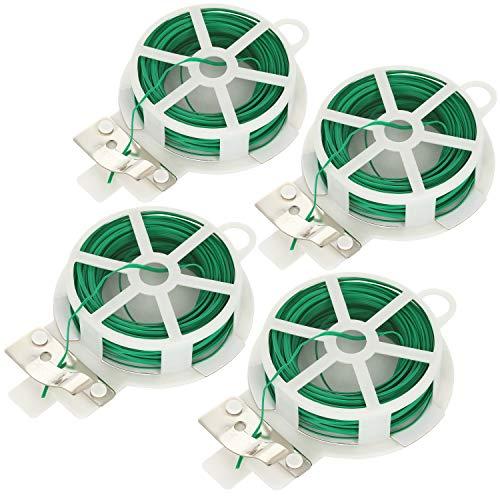 com-four® Filo legante da 80 Metri - Filo Rivestito in plastica Verde - Filo da Giardino con Dispositivo di Taglio per Giardinaggio e lavori Domestici (04x 20m)