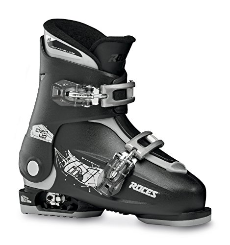 Roces Kinder Skischuhe Idea Up Größenverstellbar Verstellbarer Kinderskischuh, Black/Silver, 30-35