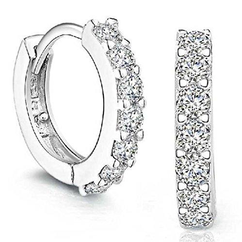 Women Earrings Studs,Lood Elegant Sterling Silver Rhinestones Hoop Diamond Stud Earrings Gifts for Women New,Jewelry Making Charm Kits (A)