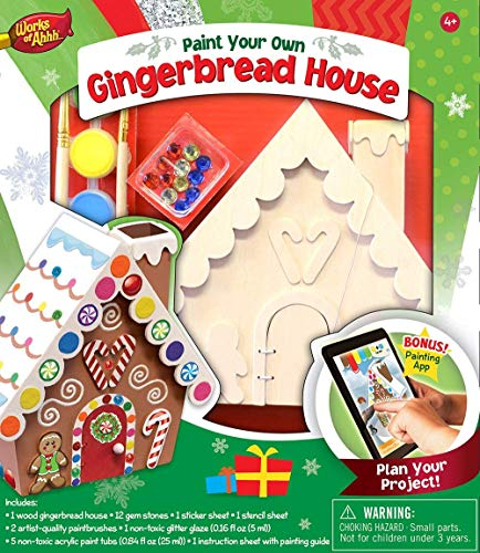 MasterPieces Works of Ahhh Christmas Real Wood Christmas Large Acrylic Paint Kits, Holiday Gingerbread House, Moms Choice Award, for Ages 4+