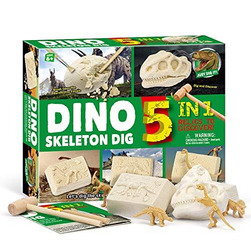 JoaSinc Kit di Scavo Scheletro di Dinosauro, Dinosaur Dig Kit 5 in 1 Fossili di Dinosauro Perforazione e Scavo Kit Archeologia Biologia Istruzione Giocattolo Educativo Scienza per Bambini Ragazzi