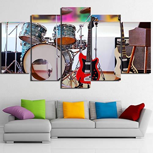 POLLKK 5 Tafelmalerei Modulare Bild Wohnzimmer Hd Gedruckt Leinwand 5 Stücke Musikinstrumente Schlagzeug Gitarre Malerei Wohnkultur Poster Wandkunst