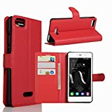 Tasche für Wiko Fever Special Edition Hülle, Ycloud PU Ledertasche Flip Cover Wallet Hülle Handyhülle mit Stand Function Credit Card Slots Bookstyle Purse Design rote