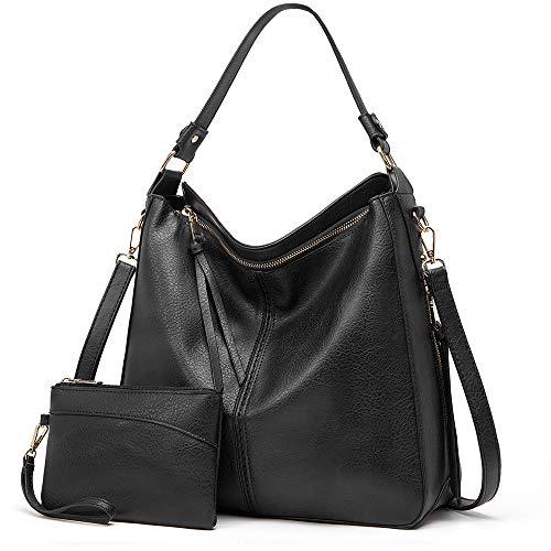 Lecxci Women Tote Bag Handbags Leather Fashion Hobo Shoulder Bags with Adjustable Shoulder Strap (2pcs Purse Set ) (Black)