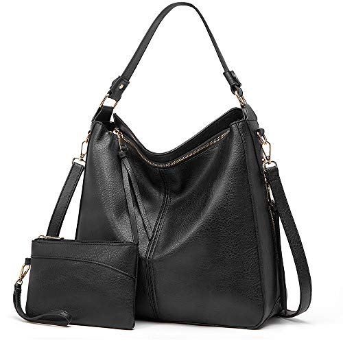 Lecxci Women Tote Bag Handbags PU Leather Fashion Hobo Shoulder Bags with Adjustable Shoulder Strap (2pcs Purse Set ) (Black)