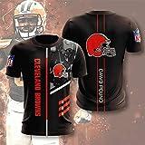 Xiaolimou NFL T-Shirt Manches Courtes Homme 2021 Cleveland Browns T-Shirt Mamba Tee Shirt Jersey XXS-5XL, Cadeau pour Les Fans De Rugby, Lavable en Machine, Ne Se Décolore Pas,Noir,XL