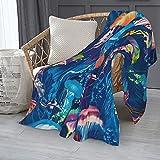 Medusa azul mar Medusa manta Hippie franela polar microfibra manta de lujo ligera acogedora sofá cama caliente aire acondicionado manta 60 x 50 pulgadas