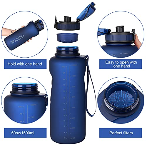 Water Bottle - ADORIC Leak Proof Drinks Bottle with Filter, BPA Free Tritan Non-Toxic Plastic Sport Water Cup, Flip Top, for Work, Gym, Travel, Sports (Navy Blue-1500ml)