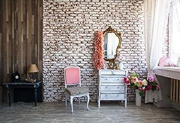 Leyiyi 6x4ft Photography Background Modern Room Interior Backdrop Chic Room Setting Dressing Room Vintage Brick Wall Mirror Make Up Flowers Curtain Bridal Braidesmaid Photo Portrait Vinyl Studio Prop