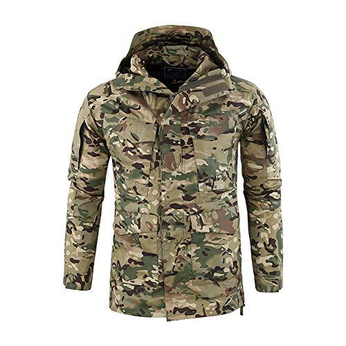 Men's Windproof Warm Outdoor Coat Hooded Jacket Sports Uniform Velvet Overalls Army Green