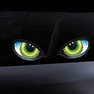 Ballylelly Lustige 3D Stereo reflektierende Katzenaugen Muster Autoaufkleber Autoseitenkotflügel Augenaufkleber Klebender Rückspiegel Aufkleber