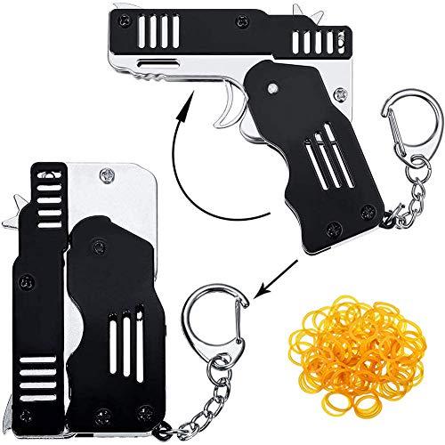 MEIZHEN Pocket Rubber Banders mit Einer Packung Gummibänder, Mini Metal Folding Gummiband Shooter Gun Toy mit Schlüsselbund, für Outdoor-Aktivitäten Spiel Black