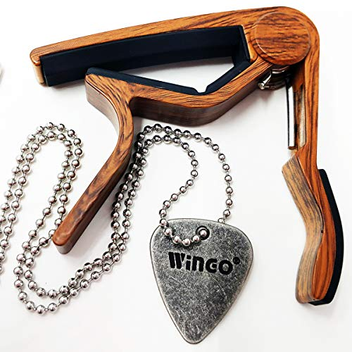 WINGO Quick Change Guitar Capo for Acoustic Guitar, Electric Guitar,Bass,Ukulele- Rosewood with Unique Metal Pick Necklace.