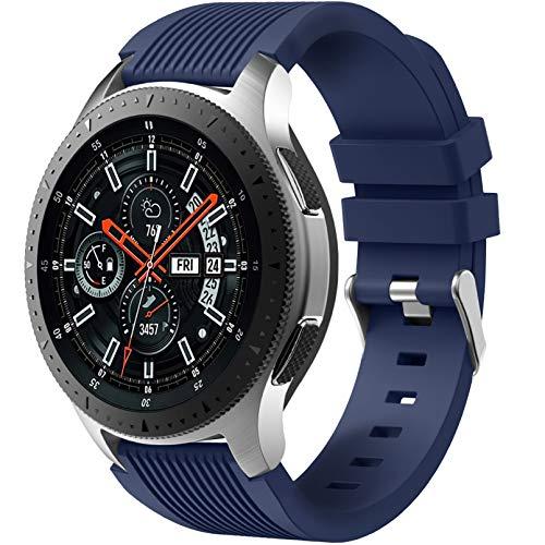 Dirrelo Correa Compatible con Samsung Galaxy Watch 3 45mm/Galaxy Watch 46mm/Huawei GT 2 46mm, 22mm Deportiva Muñequeras Suave Silicona para Samsung Gear S3 Frontier, Hombres Mujeres, Azul oscuro