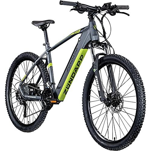 Zündapp Z808 E-Bike 27,5 Zoll E-Mountainbike Fahrrad EMTB Hardtail 650B Pedelec Fahrrad Elektrofahrrad (schwarz/grün, 48 cm)