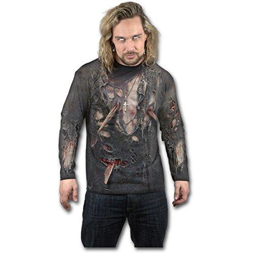 Spiral Zombie Wrap Homme T-Shirt Manches Longues Noir S, 100% Coton, Regular/Coupe Standard