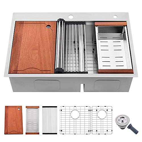 """33 Kitchen Sink Drop In Double Bowl-SOMRXO 33""""x22""""60/40 Stainless Steel Double Bowl Kitchen Sink Topmount Workstation 16 Gauge Low Divide Double Drop In Kitchen Sink with Cutting Board"""