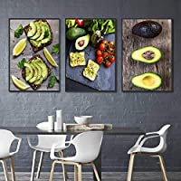 アボカドフルーツのトーストキャンバス絵画アート北欧のポスターリビングルームダイナールームキッチンの装飾50X75cm20x30inchx3フレームなし