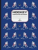 Hockey Composition Notebook: 120 page writing notebook, wide ruled. Glossy softcover, perfect bound. Hockey pattern on the cover.