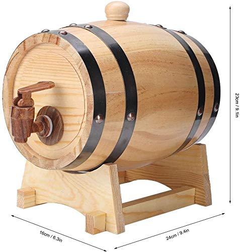DGSD 1,5 litros de Mini hogar Pino Barril de Vino de Madera Barril de Equipo de elaboración de Cerveza para la fermentación de la Cerveza, Almacenamiento y distribución (Color primario),Wood Color