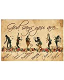 Woman Poster Tennis Players God Says You are Strong Flower Forgiven Hanging Wall Art for Living Room Decorations Painting Prints House Decor Vintage Poster No Frame