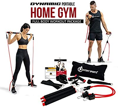 INTENT SPORTS Portable Home Gym – Dynamic Total Body Workout Package with Resistance Bands, Collapsible Bar, Straps, Handles - Strength Training Fitness Technology for Home, Travel (Patent Pending)