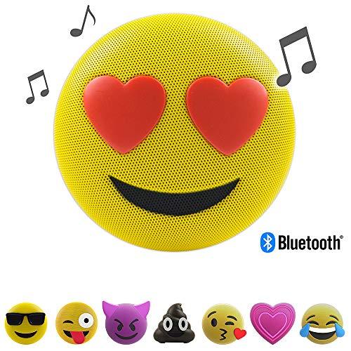 Jamoji Bluetooth Lautsprecherbox für Kinder, Love Struck, kabellose Lautsprecher mit integriertem Mikrofon, AUX-Anschluß, Micro-USB Anschluß, akkubetrieben mit 6 Stunden Laufzeit, Emoji, Smiley