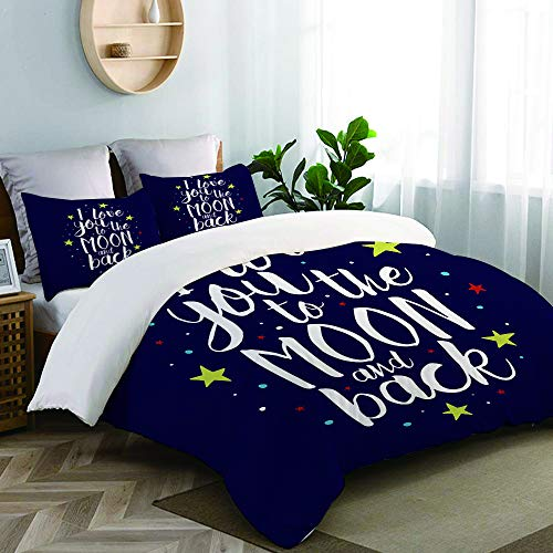 CANCAKA Brush I Love You to The Moon and Back Romantic Inspirational Quote Hand Lettering College Dorm Room Decor Decorative Custom Design 3 PC Duvet Cover Set Twin/Twin Extra Long