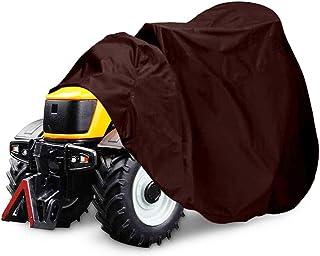 RZiioo Cubierta del cortacésped, Cubierta del Tractor del césped Heavy Duty 210D Tela Impermeable Anti-UV a Prueba de Polvo para jardín al Aire Libre,Marrón