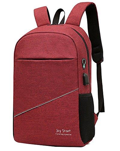 """Business Laptop Rucksack für bis zu 15,6"""" Multifunktionsrucksack Damen und Herren Ergonomisches und Atmungsaktives Design, mit USB Ladeanschluss Rucksack für Schule, Uni und Outdoor Weinrot"""