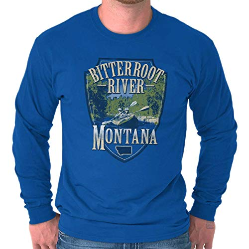 Brisco Brands Bitterroot River Montana Kayak Fishing MT Unisex Long Sleeve T Shirt