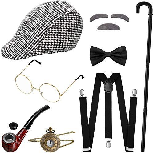 1920s Gatsby Gangster Man Costume Grandpa Accessories Set