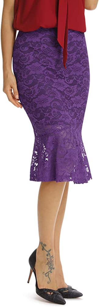 Women's Elastic Waist Casual Work Mermaid Pencil Midi Lace Skirt